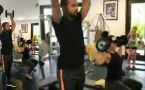 Shikhar Dhawan working out in gym with wife Aesha