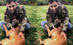 MD Dhoni playing with his dog