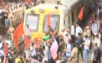 Mumbai Bandh: Maratha Kranti Morcha block train route at Thane railway station
