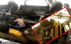 Varanasi : School Bus unturns after hitting Divider, Students injured