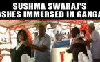Sushma Swaraj's daughter immerses her mother's ashes in the Ganga