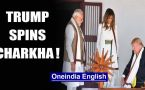 US President Donald Trump with wife Melania spins charkha at Sabarmati Ashram