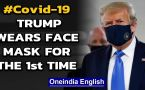 Donald Trump wears face mask in public for the first time as Covid-19 menace continues