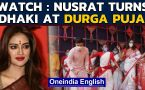 TMC MP Nusrat Jahan dances, plays dhak at Durga Puja: Watch