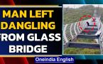 China: Man left dangling from 100 m high glass bridge