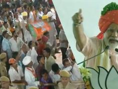 People chants Modi-Modi during PM Modi's speech in Udaipur