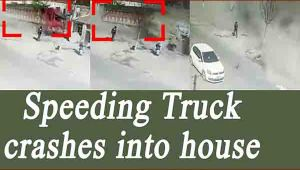 Speeding truck crashes into rows of house, Watch CCTV footage
