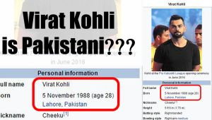 Virat Kohli Pakistani, Wikipedia showing on its site
