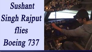 MS Dhoni actor Sushant Singh Rajput flies Boeing 737 plane Aircraft; Watch Video