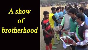 Youth from different communities play football tournament in a show of brotherhood