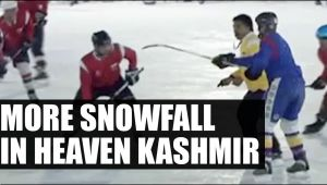 More snowfall in heaven Kashmir, attracts ice hockey lovers