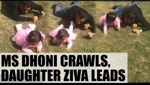 MS Dhoni crawls with daughter Ziva, watch video