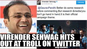 Virender Sehwag hits out at troll on Twitter, asks critics to do research