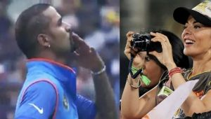 ICC Champions Trophy : Shikhar Dhawan blows Flying kiss to his wife after 125 run knock
