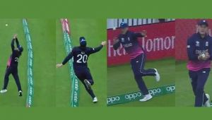 ICC Champions Trophy : Jason Roy catches ball on boundary, display cat like reflexes