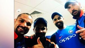 ICC Champions trophy : Shikhar Dhawan shares happy selfie with teammates over India's win