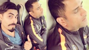 ICC Champions trophy : Ravindra Jadeja takes photo of MS Dhoni sleeping