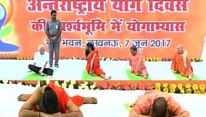 CM Yogi Adityanath performs Yoga with Baba Ramdev