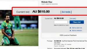 Champions Trophy : Pakistan bowler Wahab Riaz put on Ebay for sale