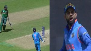 ICC Champions trophy : Virat Kohli gets angry at MS Dhoni in semi final against Bangladesh