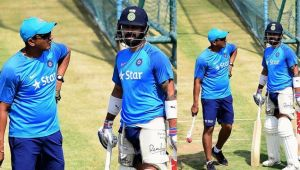 ICC Champions Trophy: Virat Kohli receives throw downs from Anil Kumble