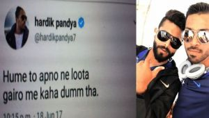 ICC Champions trophy : Hardik Pandya wrote a  controversial tweet and deleted it