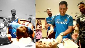 MS Dhoni turns 36 : Former captain smashes his face into birthday cake