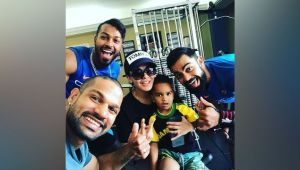 India vs West Indies: Virat Kohli's tongue expression with Dhawan's son Zorawar