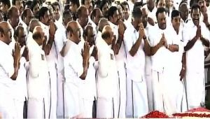 AIADMK leaders pay respects to Jayalalithaa after party merger , Watch
