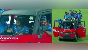 MS Dhoni drives his teams mates for a victory lap after Lanka's whitewash win