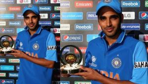 India vs Sri Lanka 5th ODI : Bhuvneshwar Kumar bags Man of the Match award