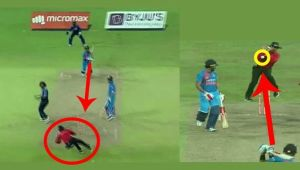 India vs Sri Lanka T20I : Virat Kohli nearly misses umpire with a powerful shot