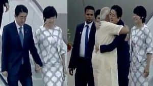 Japanese PM Shinzo Abe arrives in Gujarat, receives warm welcome