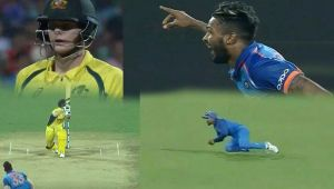 India vs Australia 2nd ODI : Hardik Pandya and Jadega team up to dismiss Steve Smith