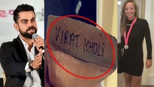 Virat Kohli gifts Danielle Wyatt his bat, she misspells his name in thank you note