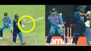 India vs Sri Lanka T20I : Munaweera OUT, bat flies off his hands nearly misses Dhoni