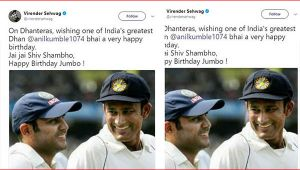 Virender Sehwag wishes Anil Kumble happy birthday in grand style