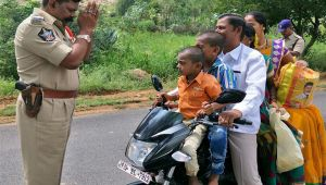 Andhra policeman stands infront of man asking to follow law, image go viral