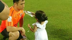 MS Dhoni offered water by his daughter Ziva, loaded with cuteness