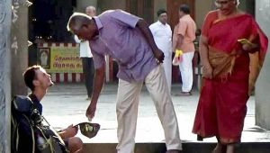 Russian man begs infront of temple after ATM pin gets locked