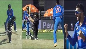 India vs NZ 2nd ODI: Tom Latham fails to sweep, gets clean bowled on 38 by Axar Patel