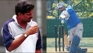 MS Dhoni stunned by Kapil Dev's bouncer at Eden Gardens Stadium