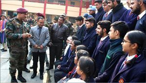 MS Dhoni pays surprise visit to a school in Kashmir valley