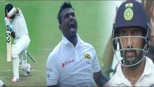 India vs SL 1st test , 3rd day : Cheteshwar Pujara clean bowled by Gamage, all is lost for host