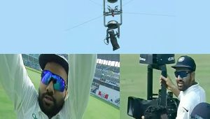 India vs SL 2nd test : Rohit Sharma play with spider camera during match