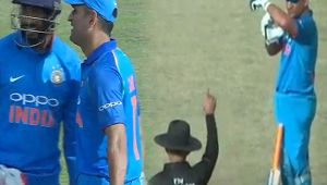India vs SL 1st ODI : MS Dhoni take DRS review even before umpire gives out, Watch