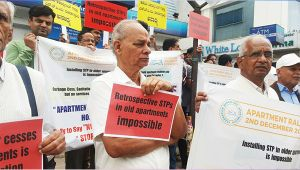 Bengaluru Apartment residents conduct peaceful protest against STP law
