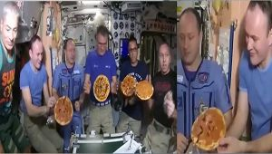 NASA astronauts enjoy 'Pizza Party' in space, Watch Video