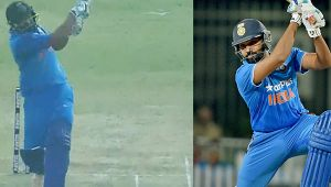 India vs SL 2nd ODI : Rohit Sharma slams four 6s to Lakmal in one over
