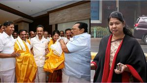 DMK MP Kanimozi and A Raja gets hero's welcome in Chennai, Watch